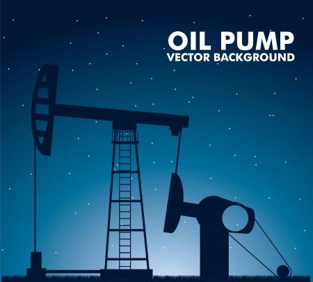 depletion: silhouette oil pump over night background. vector illustration