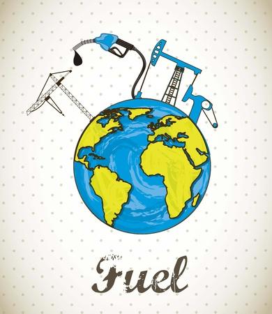 recursos financieros: combustible concepto con el planeta, estilo vintage