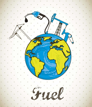 depletion: fuel concept with planet, vintage style
