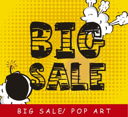 big sale over yellow background, pop art. vector illustration Stock Vector - 15888768