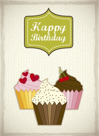 Birthday Card With Cup Cakes Vintage Style Royalty Free Cliparts