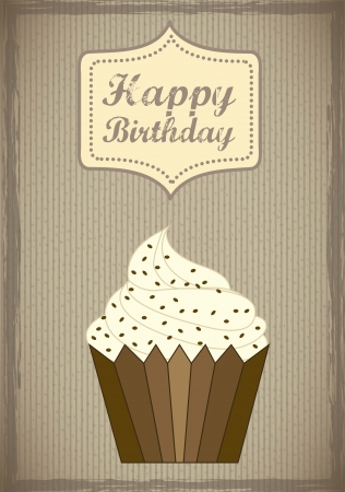 birthday card with cup cake, vintage style Vector