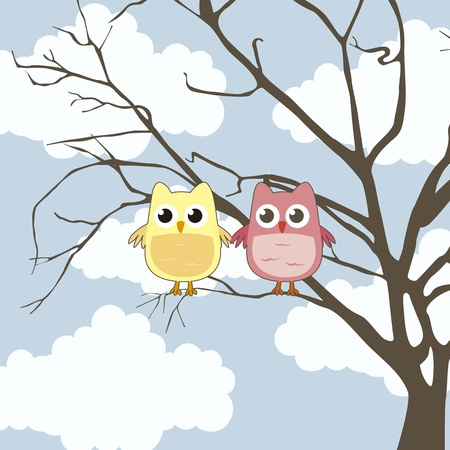 backgroud: cute owl over tree and sky backgroud, love. vector illustration Illustration