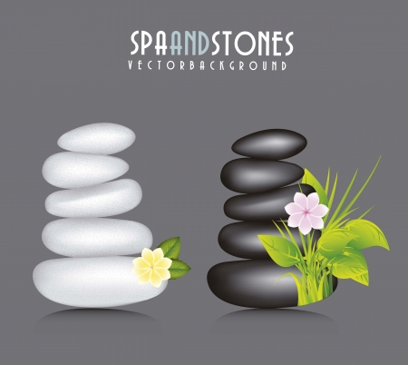 white and black stones spa Stock Vector - 15888558