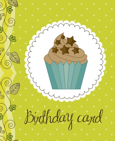 green birthday card with cup cake Vector