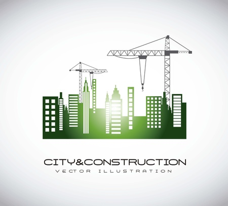 building activity: silhouettte construction crane with buildigns. vector illustration Illustration