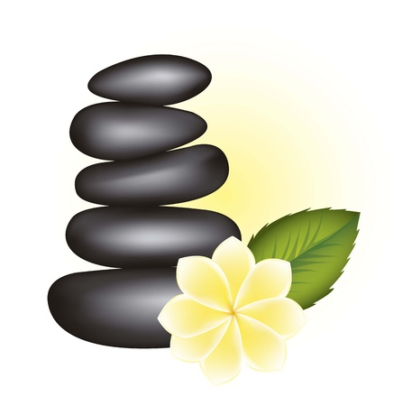 black stones spa with flowr and leaf. vector illustration Stock Vector - 15888366