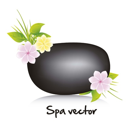 black stone spa with flowers and leaves Stock Vector - 15888651