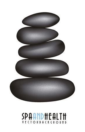 black stones spa over white background. vector illustration Stock Vector - 15888611