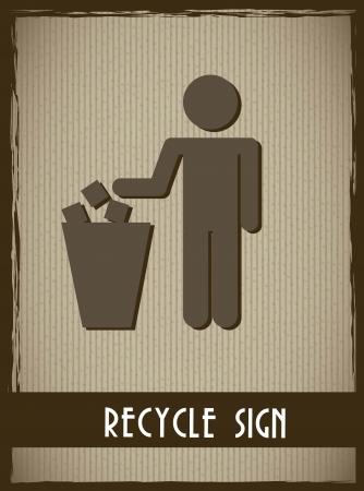 recycle sign over cardboard background. vector illustration Vector