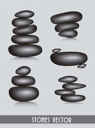 black stones spa over gray background. vector illustration Vector