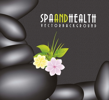 black stones spa over black background Stock Vector - 15888572