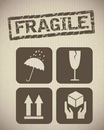 fragile: cardboard icons background, vintage style. vector illustration
