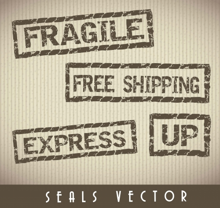 cardboard texture with grunge seals Stock Vector - 15888393