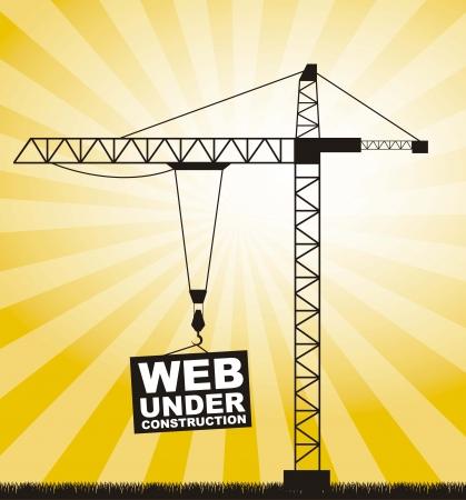 construction: silhouettte crane, web under construction. vector illustration