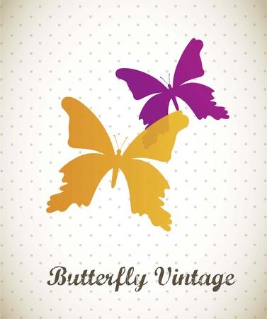 arthropod: colorful butterfly over vintage background. vector illustration