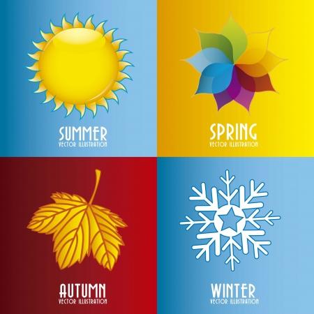 estaciones del a�o: cuatro elementos temporada m�s de fondo colorido. ilustraci�n vectorial