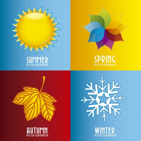 seasons: four season elements over colorful background. vector illustration