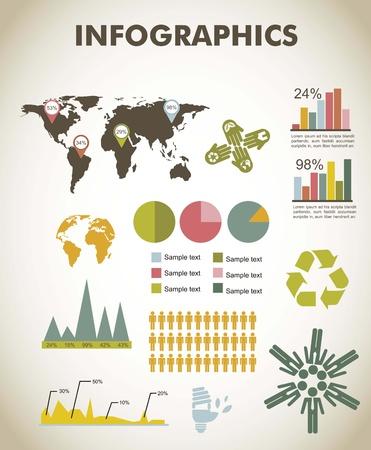vintage infographics set with map. vector illustration Illustration
