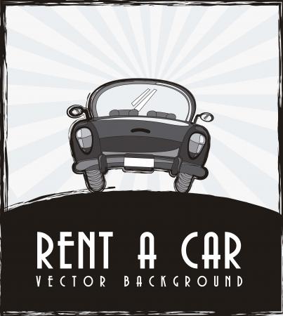 alquilar un anuncio de coche, negro y blanco. Ilustración de vector