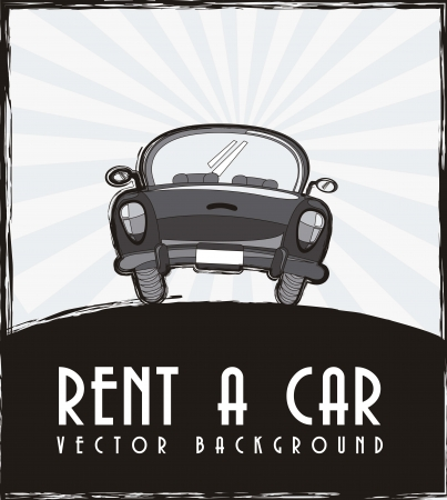 rent a car announcement, black and white.  Vector