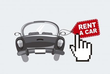 alquilar un coche con la mano cursor, negro y blanco. Ilustración de vector