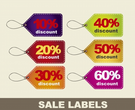 colorful discount labels over beige background. Vector