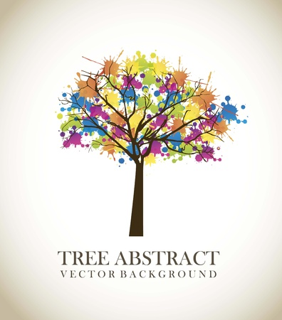 tree abstract over vintage background.