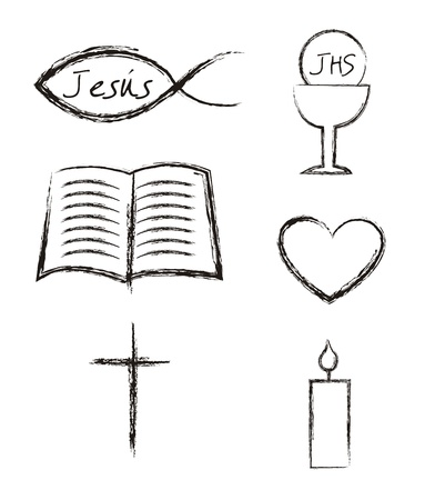 christian candle: communion elements over white background.  Illustration