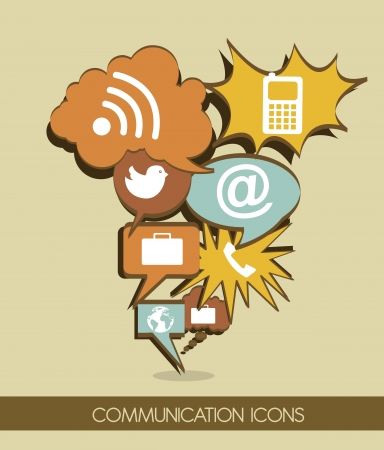 communication icons cartoon, vintage style.  Vector