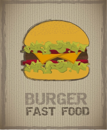 burger with meat over vintage background. Vector
