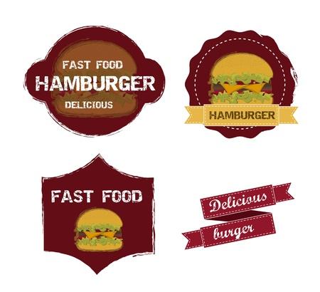 bun: burger labels isolated over white background.  Illustration