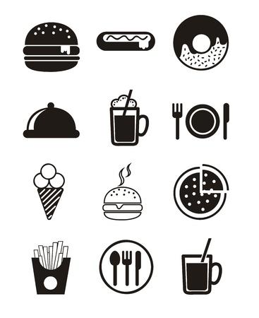 black fast food icons over white background.  Illustration