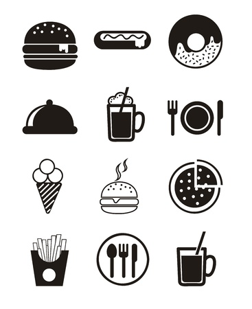 burger and fries: black fast food icons over white background.  Illustration