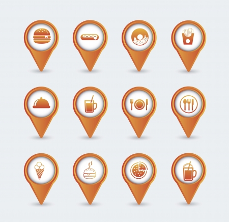 orange fast food icons over white background.  Vector
