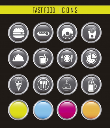 white fast food icons over black background. Stock Vector - 16032149