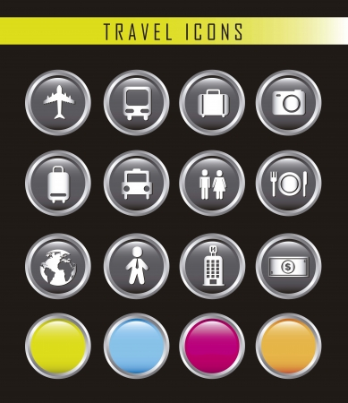 travel business icons isolated over black background. vector Stock Vector - 16123971