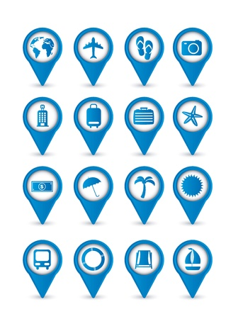 blue vacation  icons isolated over white background. vector Stock Vector - 16123964