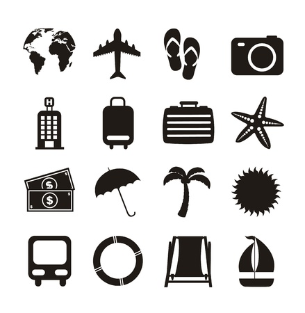black vacation  icons isolated over white background. vector Stock Vector - 16123966