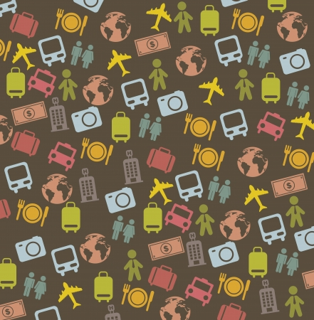 cute travel business icons over brown background. vector illustration  Stock Vector - 16124613