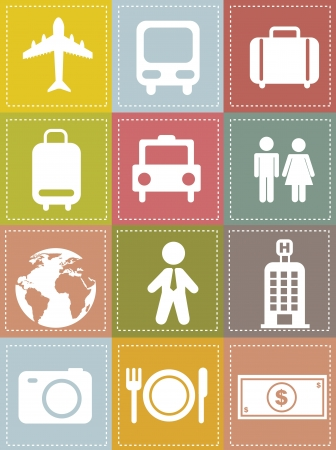 travel icons over beige background, vintage style. vector illustration Stock Vector - 16123954