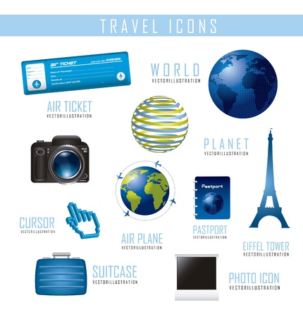 travel icons isolated over white background.vector illustration Stock Vector - 16124626