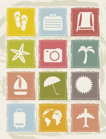 vintage vacation  icons over grunge background. vector Stock Vector - 16124617