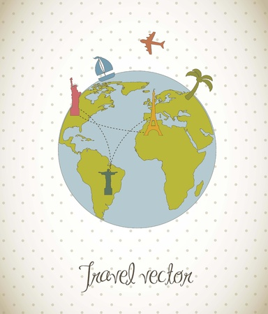 vacation  illustration over vintage style background. vector Stock Vector - 16124621