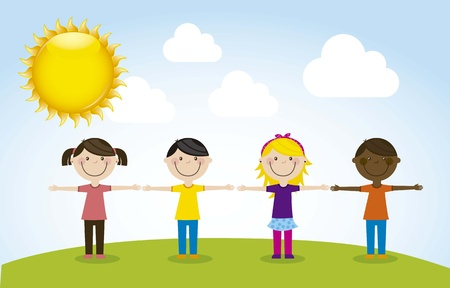 happy group children, team. vector illustration Stock Vector - 16123937