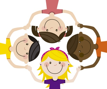 happy group children, team. vector illustration Stock Vector - 16123950