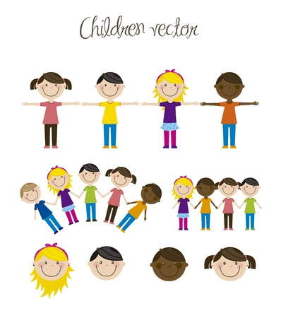 happy group children, team. vector illustration Stock Vector - 16123967