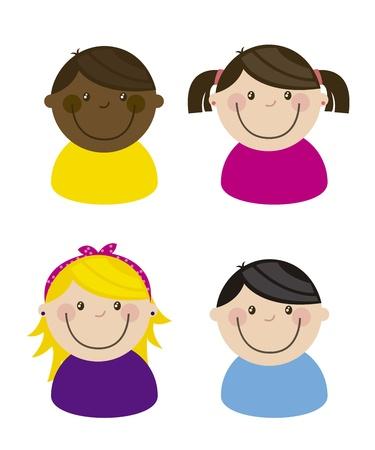 happy group children, team. vector illustration