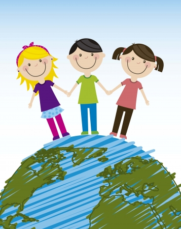 happy group children over planet. vector illustration Stock Vector - 16124623