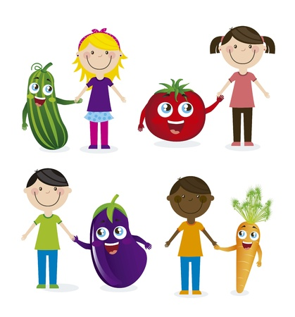 happy group children and vegetables. vector illustration Stock Vector - 16123970